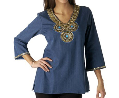 Embellished Blue Chambray Tunic