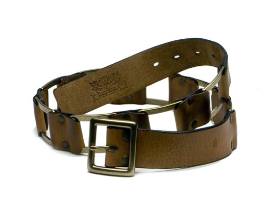 Square Links Belt in Cognac